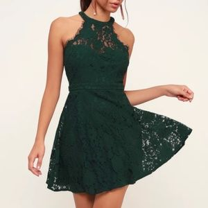 Lulu's Forest Green Lace Skater Dress Size S NWT